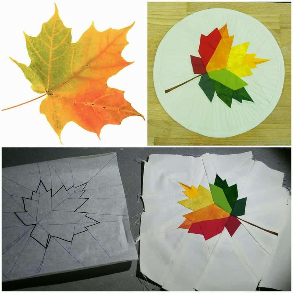 jesenný list šitý cez papier